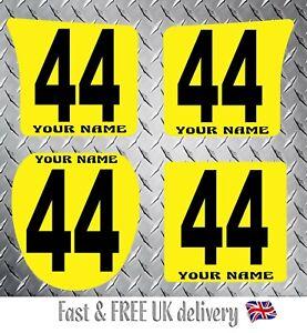 Kart Race Numbers & Name inc Background x 4 - MSA 2020 Compliant (YB) S1