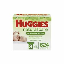Huggies Natural Care Sensitive Baby Wipes 3 Refill Packs - 624 Unscented Wipes
