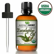 100% Pure Virgin Certified USDA Organic Eucalyptus Essential Oil (Huge 4oz)