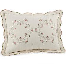 Standard Pillow Sham 20x26in Machine Washable Cotton Bedding Floral Cream Color