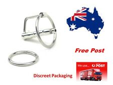 Cum-Thru Penis Plug Urethral Sound with Glans Ring  2 Rings ...Australian Stock