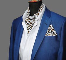 LEOPARD Animal Print Poly Cotton Ascot CRAVAT Neck Tie Scarf & Pocket Square