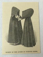1886 small magazine engraving ~ WOMEN OF THE AZORES IN OUTDOOR DRESS