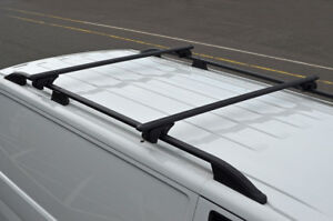 Black Cross Bars For Roof Rails To Fit Volkswagen T5 Transporter 100KG Lockable
