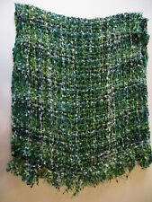 Lot of 2 used women's scarves  green/blue etc. diff materials & feel