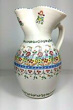 A.H Puente Pitcher Restaurante Botin Pottery Hand Painted Floral Vintage