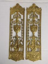 357 / PAIR OF EARLY 20TH CENTURY CLASSICAL BRASS DOOR PLATES / FINGER PLATES.