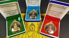 SET of 3 BLESSED LUANG PHOR SOTHORN BUDDHA AMULETS + PHA YANT, WISHING Cloth.
