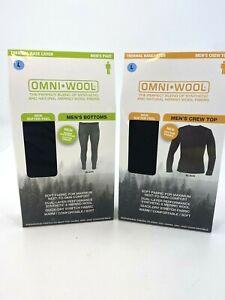 Omni Wool SET Top & Bottom NEW Sz LG Mens Base Layer Thermal Merino Wool Black