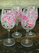 Lilly Pulitzer Set Of 4 Acrylic Wine Glasses In Jellies Be Jammin