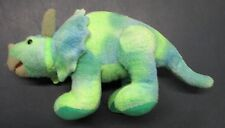 Plush Triceratops Toy Dinosaur Green Blue Hues 12 inches size