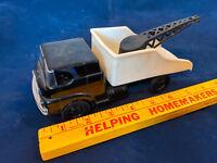 1960s Cragston Rare Black White Pickup Tow Dump Crane Truck Friction Plastic