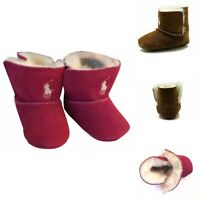 Ralph Lauren Mallor Layette Infant Girl's Shoes Suede Toggle Boot Brown Hot Pink