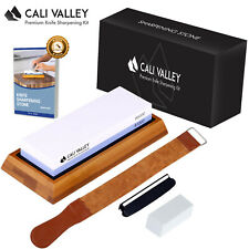 Cali Valley Knife Sharpening Stone - Premium Professional 1000/6000 Grit Whet...