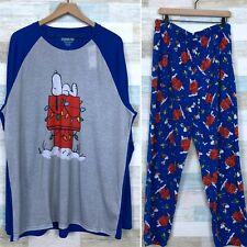 Peanuts Snoopy Christmas Pajamas Set Blue Gray Fleece Raglan Mens XXL 2XL