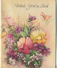 VINTAGE PINK YELLOW SWEET PEAS PEA FLOWERS PURPLE WHITE VIOLETS BUTTERFLY CARD