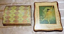 Lot of 2 Vintage FLORENTINE Italian Style Ballerina Wood Jewelry Box