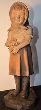"""Sculpture en plâtre """"Fillette au bouquet"""" 1900.Marque Dep.Couleurs incroyable."""