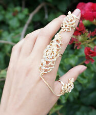 Gold Rose Connect Ring, Chain Linked Ring, Crystal Connector Ring, Double Finger
