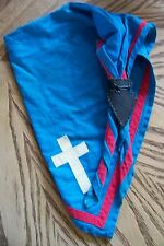 Vintage Boy Scout Neckerchief Sky Blue White Cross Red Stripe Leather Slide