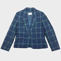 PENDLETON Womens Jacket Blazer Vintage 100% Wool Tartan Blue/Green Size UK 8