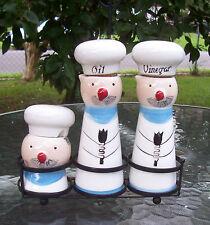 Davar Chef Oil & Vinegar & Condiment Cruet Container Jars & Wrought Iron Stand