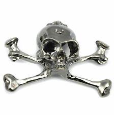 Reino Unido Gótico Punk Biker Gun Metal Negro Calavera Broche Cruz Hueso Rock Broche Regalo Gratis