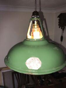 Vintage Coolicon green enamel industrial pendant ceiling Shade Original Fittings