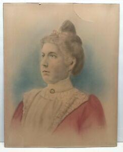 c 1890 Pastel Woman's Portrait on Board