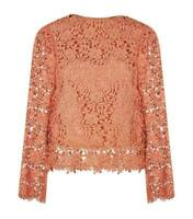 NWT $295.00 ALICE + OLIVIA Salmon BELL SLEEVE Crochet LACE PASHA Top BLOUSE~S