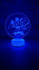 Minnie & Mickey Mouse 3D illusion 7 Color LED Light Night Change Table Desk Lamp