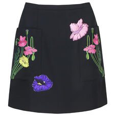 Christopher Kane Black Floral Embroidered Mini Skirt UK10 IT42