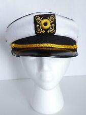 Ship Captain Sailor White Black Gold Adult Costume Halloween Hat Cap