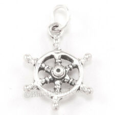 3D CAPTAIN WHEEL Ship Sail Boat Charm Pendant Solid 925 STERLING SILVER Nautical