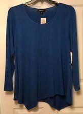NWT Karen Kane Women's Glisten Up Asymmetrical Long Sleeve Blue Sweater Size 3X