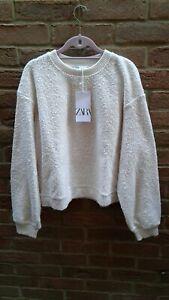ZARA Cream/ecru Textured Oversized Cropped Sweatshirt/jumper Size L(14) BNWT
