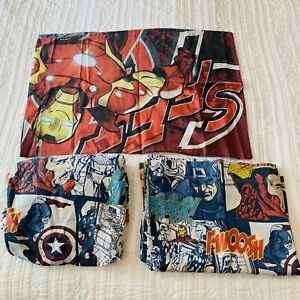 Vintage Marvel Comics Avengers Twin Sheet Set Flat & Fitted with pillowcase