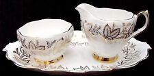 Queen Anne China Condiment Set-Sugar Bowl, Creamer, Tray - White & Gold-ENGLAND