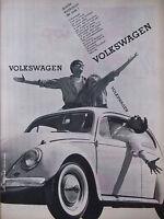PUBLICITÉ DE PRESSE 1961 VOLKSWAGEN COCCINELLE EXPLOSION DE JOIE - ADVERTISING