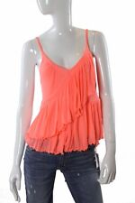 FREE PEOPLE Melbourne Ruffle Ribbed Tank in Neon Pink Medium NWT