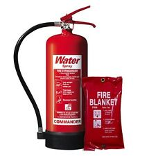NEW 6 LTR WATER (H2O) FIRE EXTINGUISHER + FIRE BLANKET