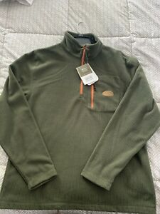 Drake Waterfowl Square Check Camp Fleece 1/4 Zip Forest Green Large