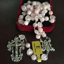 Pink Quartz Beads Catholic 5 DECADE Rosary Crucifix Cross necklace Gift box