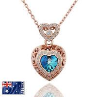 New 18K Rose Gold Filled Women's Blue Swarovski Crystal Heart Pendant Necklace