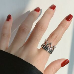 GOTHIC CROWN 925 THAI STERLING  SILVER ADJUSTABLE RING WITH GIFT BAG