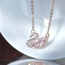 18k rose gold gf made with Swarovski crystal swan pendant chain necklace SMALL