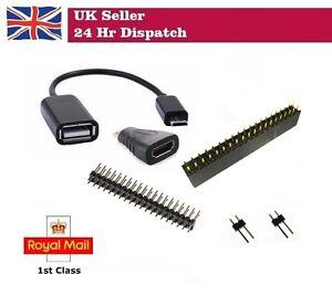 Starter Kit for Raspberry Pi Zero W Micro USB Cable HDMI Adaptor Male Header PIN