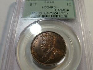 Q12 Canada 1917 Large Cent PCGS MS-64 Red Brown OGH