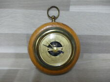 Vintage little round brass precision barometer in wood case - thermometer