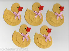 5 Handmade Paper Ducks with Pink Bow Card Toppers